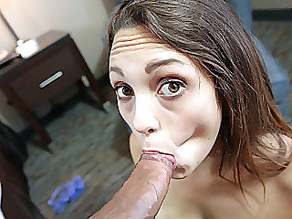 Cute 18 year old chick Jade Nile deepthroats a montrous big cock