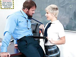 Shy cute short haired blonde schoolgirl Makenna Blue gets banged