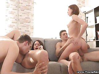 Teen chicks sharing stiff dicks